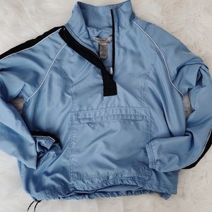 Retro Crop Long Sleeve Zip Up Windbreaker